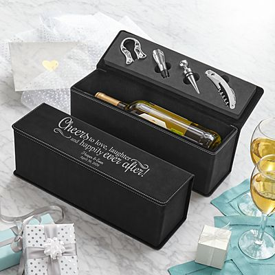 Love & Laughter Leatherette Wine Box Gift Set
