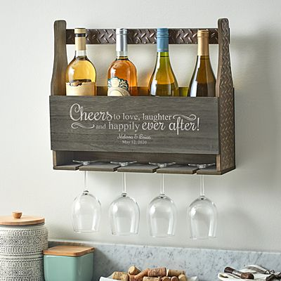 Love & Laughter Wood Wine Rack