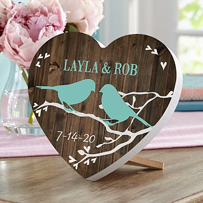 Sweet Lovebirds Mini Wood Heart