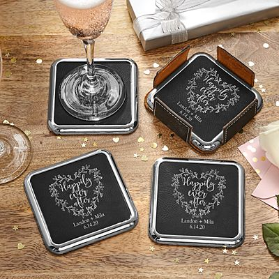 Happily Ever After Leatherette Coasters & Holder Set