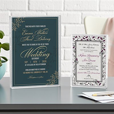 Wedding Invitation Keepsake Glass Block