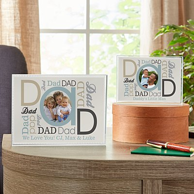 DAD Photo Message Glass Block