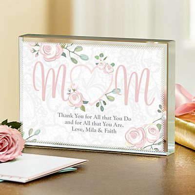 Cherish Mom Glass Block