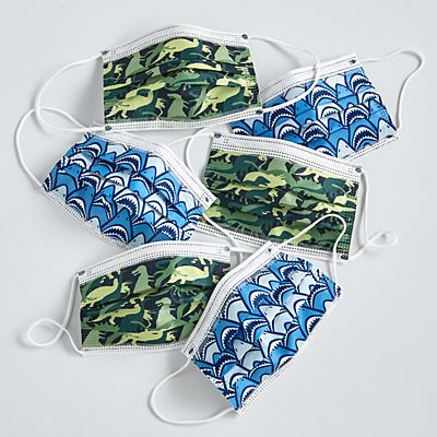 Kids Fun Print 6 Pack Disposable Face Masks - Sharks/Dinos Pattern