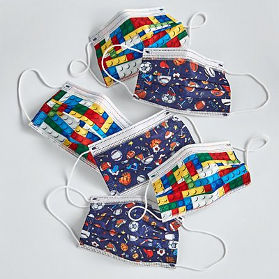 Kids Fun Print 6 Pack Disposable Face Masks - Blocks/Sports Pattern