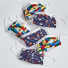 Kids Fun Print 6 Pack Disposable Face Masks - Blocks/Sports Pattern