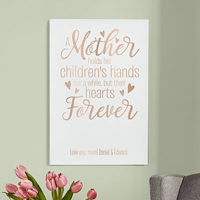 A Mother Holds Her Child's Hand Leather Wall Art