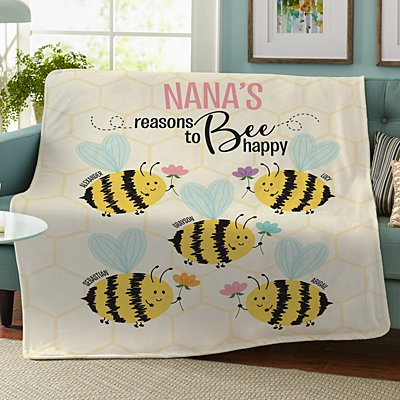 Reasons to Bee Happy Plush Blanket