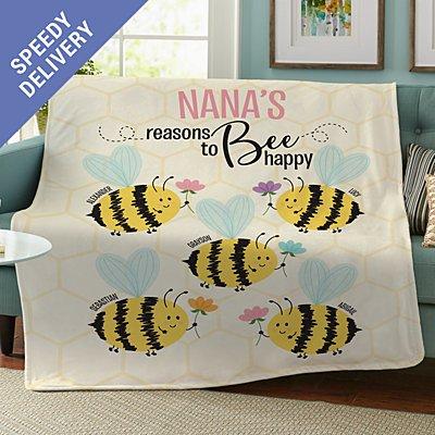 Reasons to Bee Happy Plush Blanket