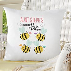 Reasons to Bee Happy Throw Pillow