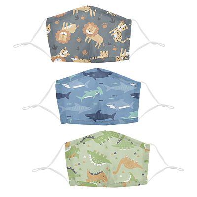 Stephen Joseph® Kids Jungle/Shark/Dino Cotton Washable 3 Pack Facemasks