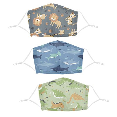 Stephen Joseph® Kids Jungle/Shark/Dino Cotton Washable 3 Pack Facemasks