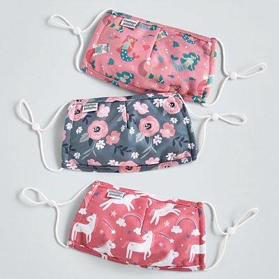 Stephen Joseph® Kids Flowers/Mermaids/Unicorn Cotton Washable 3 Pack Face Masks