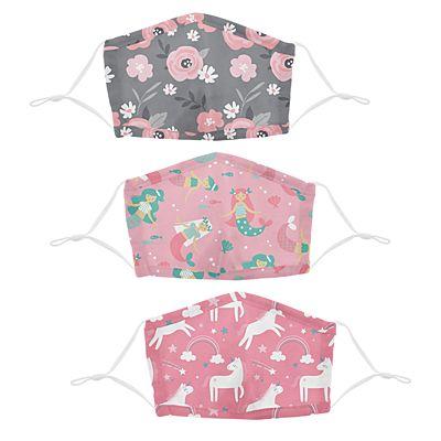 Stephen Joseph® Kids Flowers/Mermaids/Unicorn Cotton Washable 3 Pack Facemasks