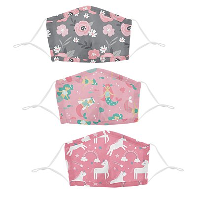 Stephen Joseph® Kids Flowers/Mermaids/Unicorn Cotton Washable 3 Pack Facemasks