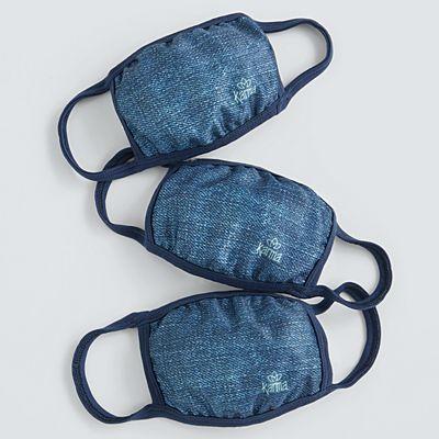 Karma® Allover Denim Print Adult 3 Pack Washable Face Masks