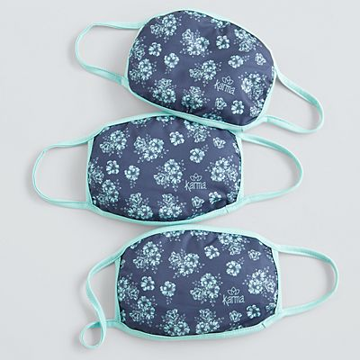Karma® Allover Blue Floral Print Adult 3 Pack Washable Face Masks
