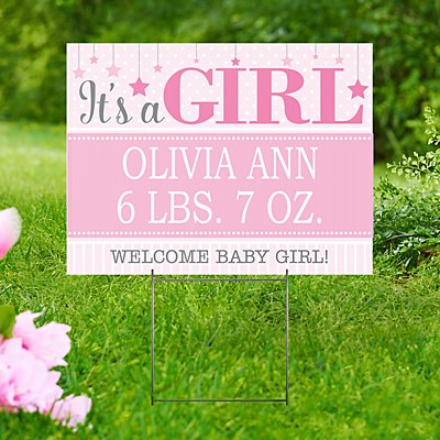 Finally Here 2-Sided Yard Sign with Stake