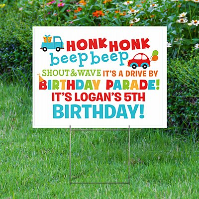 Honk Honk Birthday 2-Sided Yard Sign with Stake
