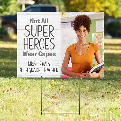 Super Heroes Photo 2-Sided Yard Sign with Stake