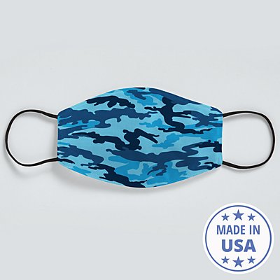 Allover Print Adult Face Mask - Blue Camo