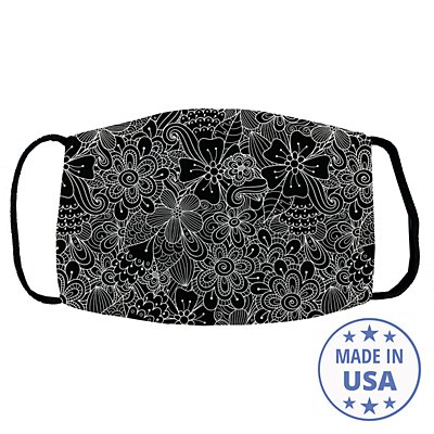 Allover Print Face Mask - Floral Doodles
