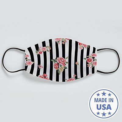 Allover Print Face Mask - Floral Stripes