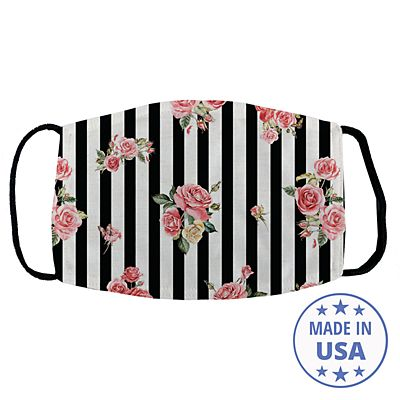Allover Print Face Mask - Floral Stripes