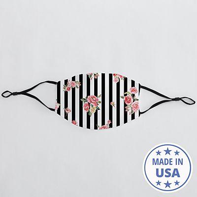Allover Print Adult Face Mask - Floral Stripes