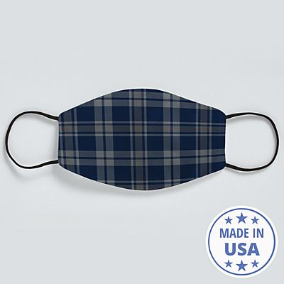 Allover Print Face Mask - Navy Plaid