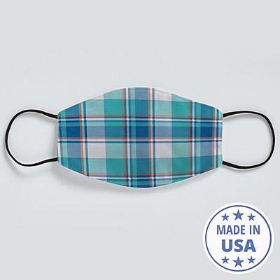 Allover Print Face Mask - Teal Plaid