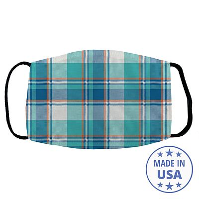 Allover Print Facemask - Teal Plaid