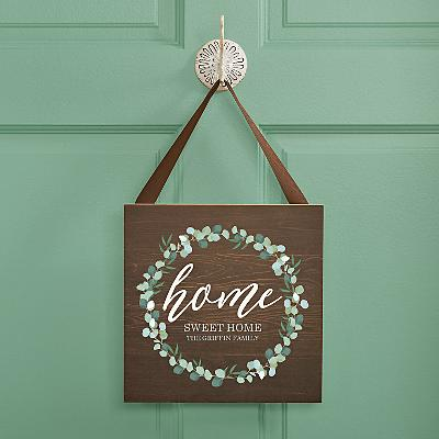 Leafy Home Square Wood Plaque