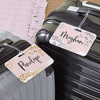 Metallic Leopard Luggage Tag