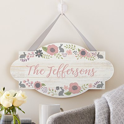 Rustic Easter Floral Hanging Wood Sign