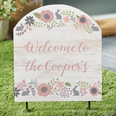 Rustic Easter Floral Outdoor Sign