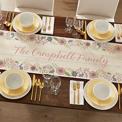 Rustic Easter Floral Table Runner