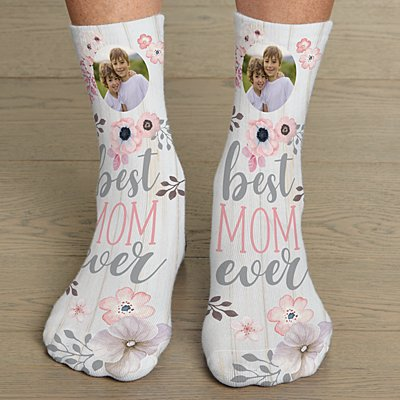 Best Mom Ever Photo Socks
