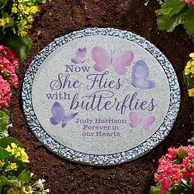 Flies With Butterflies Memorial Stepping Stone