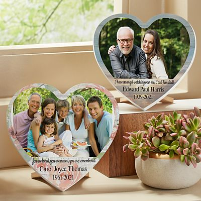 Treasured Memories Sympathy Photo Mini Wood Heart