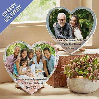 Treasured Memories Sympathy Photo Mini Wood Heart