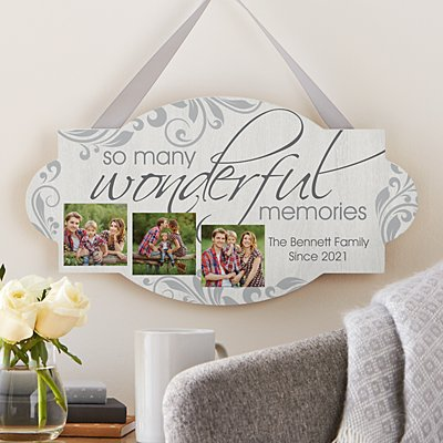 Wonderful Memories Photo Wood Hanging Sign