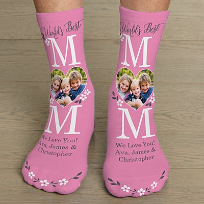 World's Best Mom Photo Socks