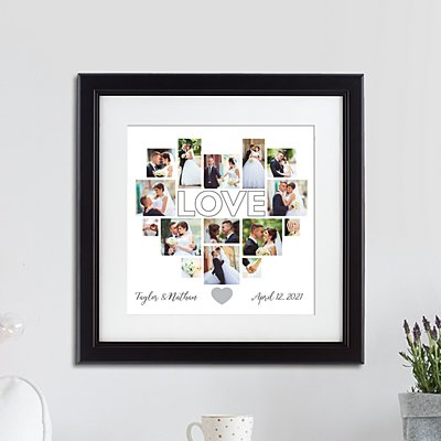 Heart Photo Collage Framed Print