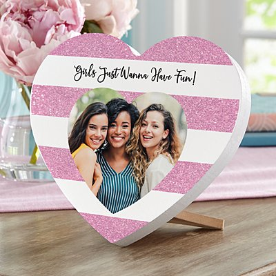 Shimmer Stripe Photo Heart Mini Wood Heart