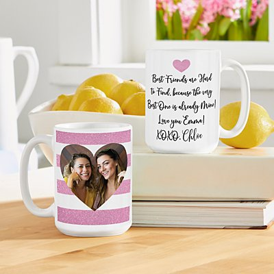 Shimmer Stripe Photo Heart Mug