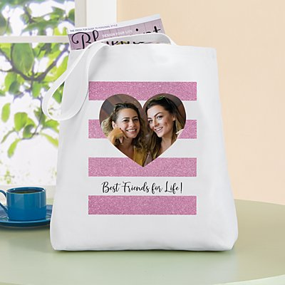Shimmer Stripe Photo Heart Tote Bag