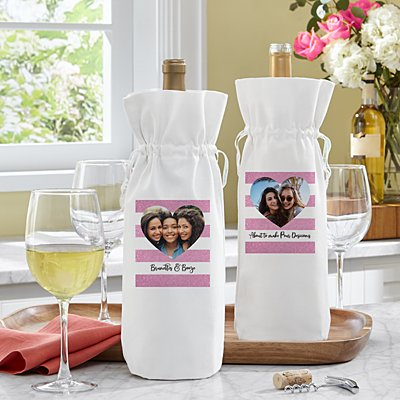Shimmer Stripe Photo Heart Wine Bag