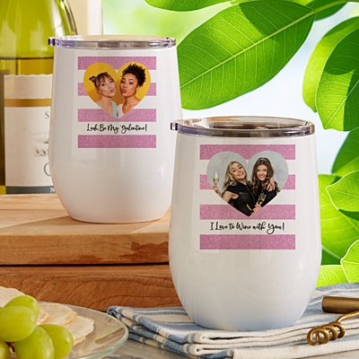Shimmer Stripe Photo Heart Wine Tumbler