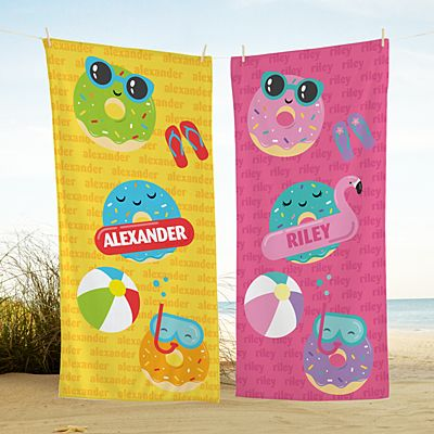 Dunk with Donuts Beach Towel